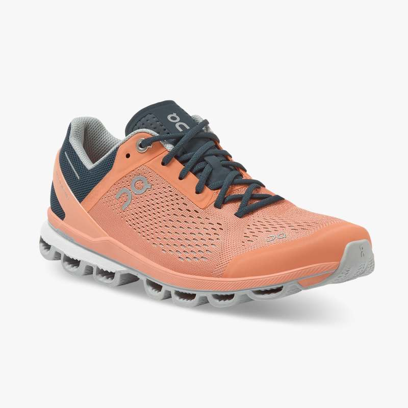 On Women's Cloudsurfer Running Shoes - Coral/Navy