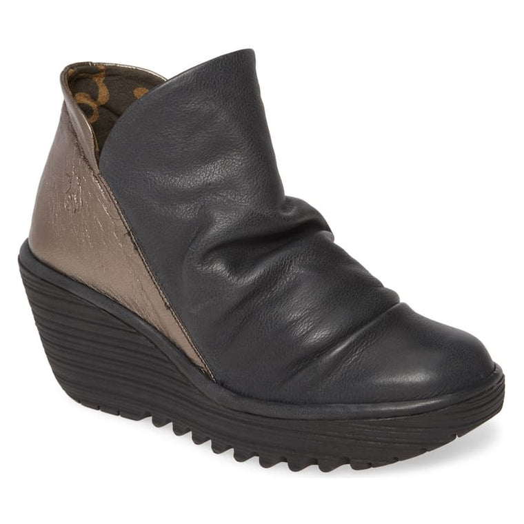 Women's Fly London Yip Wedge Bootie - Black/Bronze Janeda/Idra