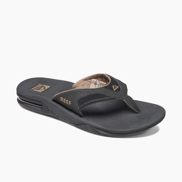 Men's Reef Fanning Bottle Opener Flip Flops - Black/Brown
