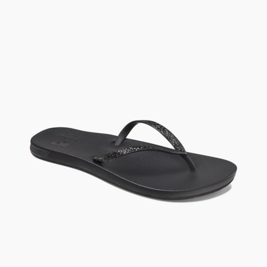 Women's Reef Cushion Bounce Stargazer Flip Flops - Black