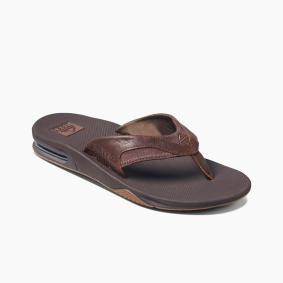 Men's Reef Leather Fanning Flip Flops - Dark Brown