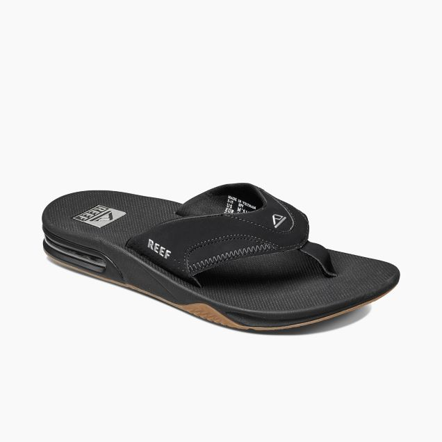 Men's Reef Fanning Bottle Opener Flip Flop - Black/Silver