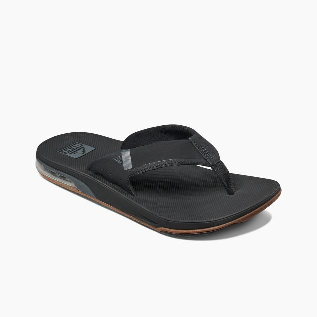 Men's Reef Fanning Low Bottle Opener Flip Flops - Black