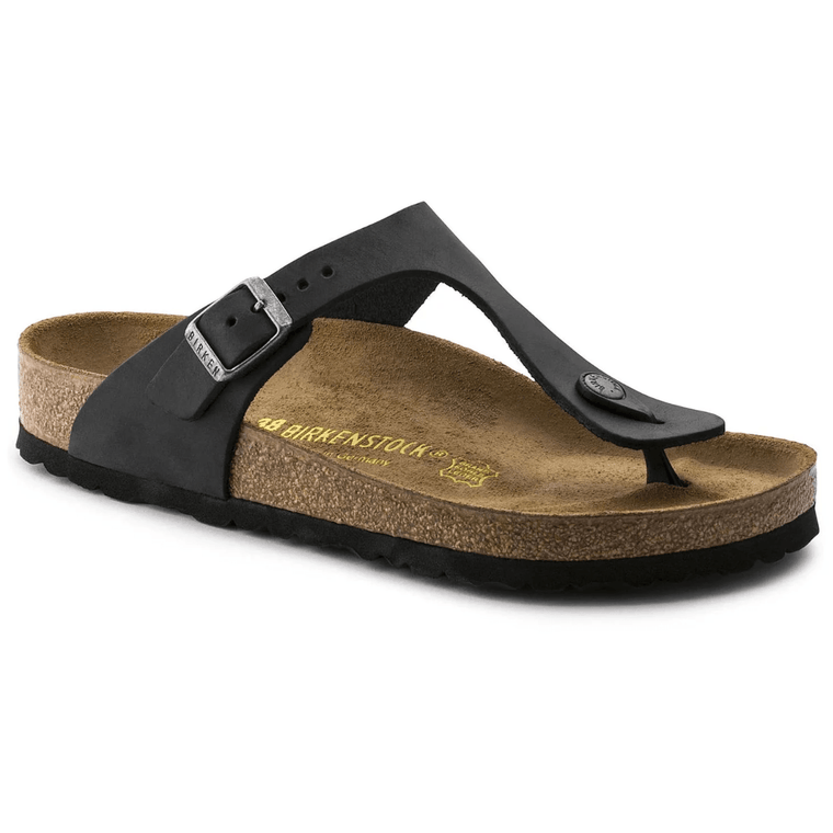 Women's Birkenstock Gizeh Thong Sandal - Black Oiled Leather