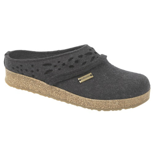Haflinger GZ Lacey Wool Felt Grizzly Clog - Charcoal