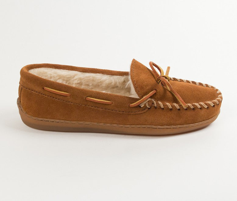 Men's Piled Lined Hardsole Slippers - Brown