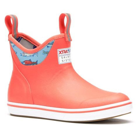 Women's XTRATUF Salmon Sisters 6 Inch Ankle Deck Boot - Coral/Salmon