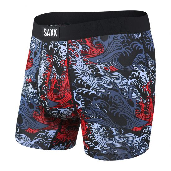 SAXX Men's Undercover Boxer Brief Underwear - Black Great Wave