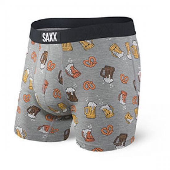 SAXX Men's Vibe Boxer Brief Underwear - Grey Beer Cheers