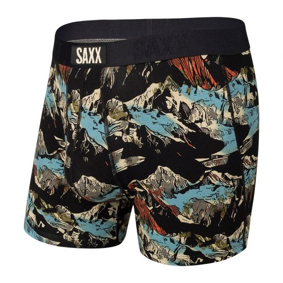 SAXX Men's Ultra Boxer Brief Underwear - Black Mountainscape