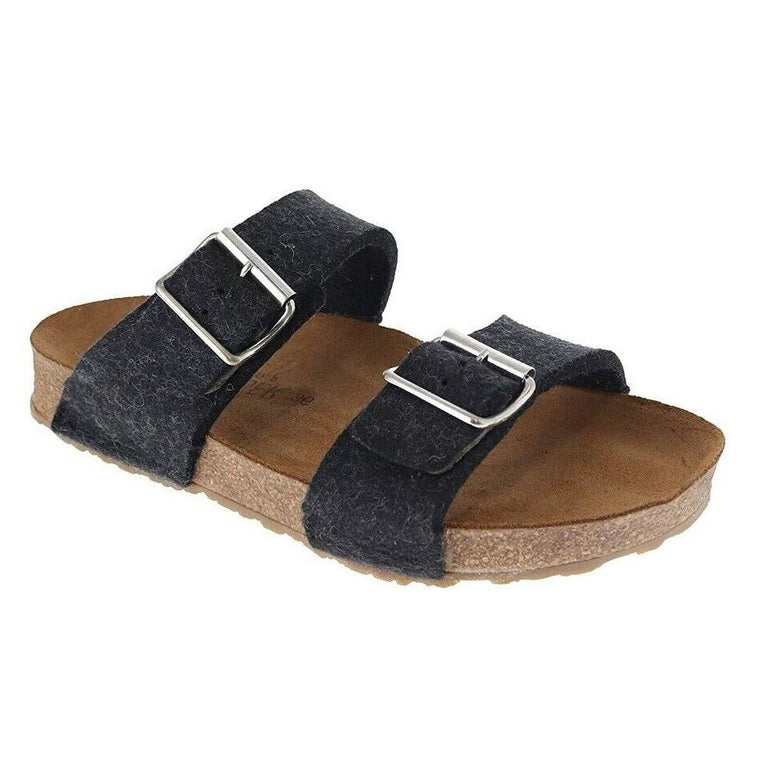 Haflinger Women's Anabel Boiled Wool Sandal - Charcoal