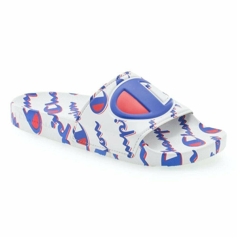 Champion Men's IPO Mega Script Slide Sandal - White