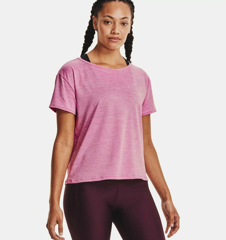Under Armour Women's UA Tech Vent Short Sleeve - Planet Pink
