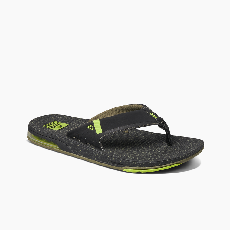 Reef Men's Fanning Low Flip Flops - Black/Lime Green