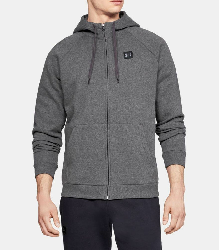 Men's Under Armour UA Rival Fleece Full-Zip Hoodie - Charcoal Light Heather/Black