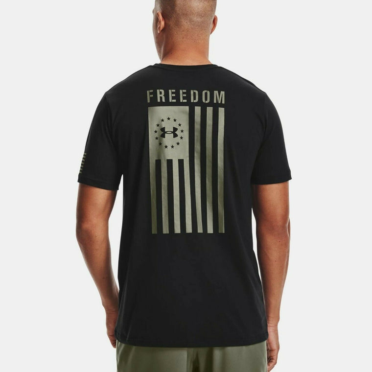 Under Armour Men's UA Freedom Flag Graphic T-Shirt - Black/Marine OD Green