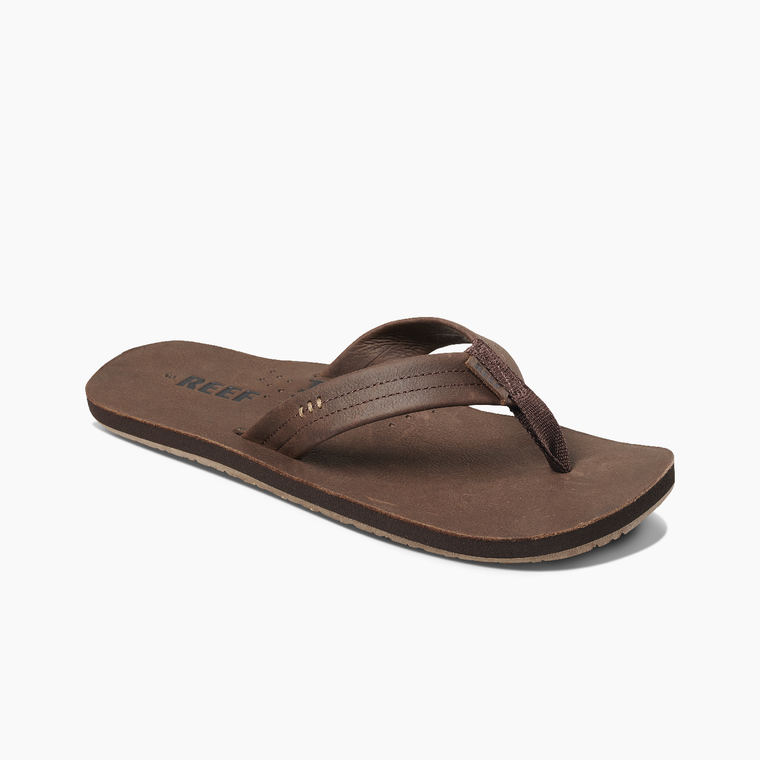 Reef Men's Draftsmen Leather Flip Flops - Chocolate