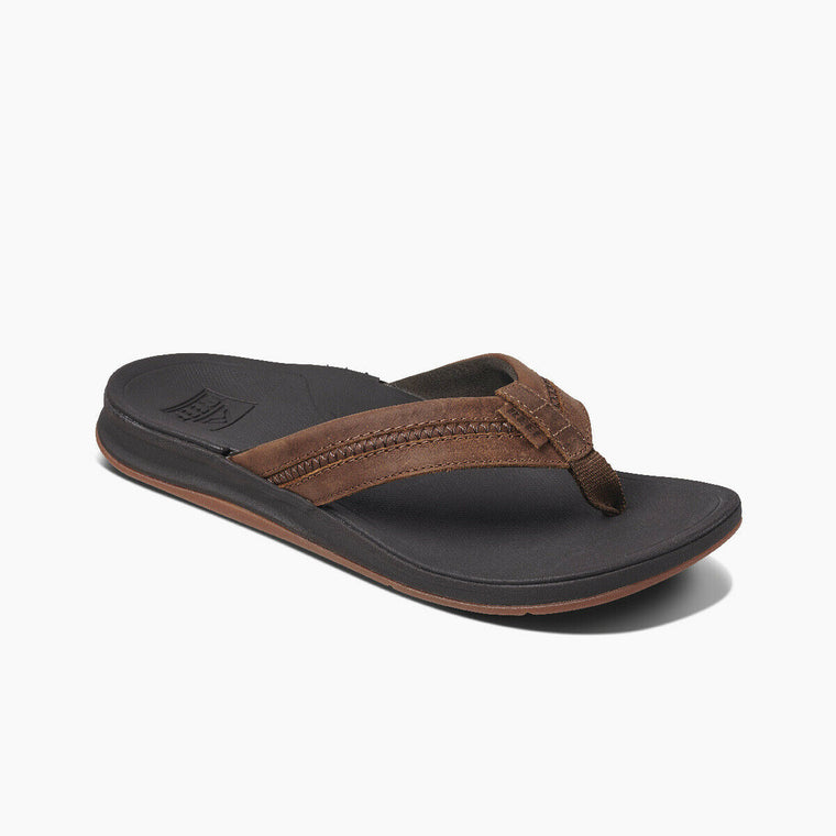 Reef Men's Leather Ortho-Coast Flip Flops - Brown