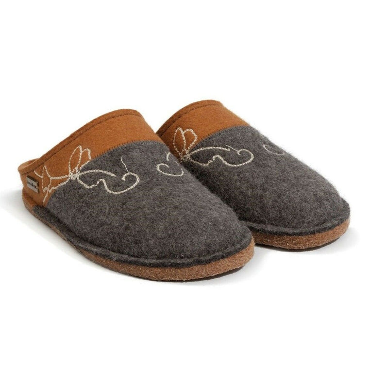 Haflinger Women's Cottage Boiled Wool Indoor Slipper - Grey