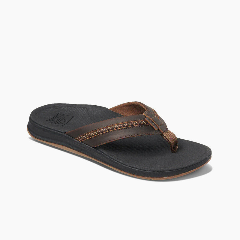 Reef Men's Leather Ortho-Coast Flip Flops - Black/Brown