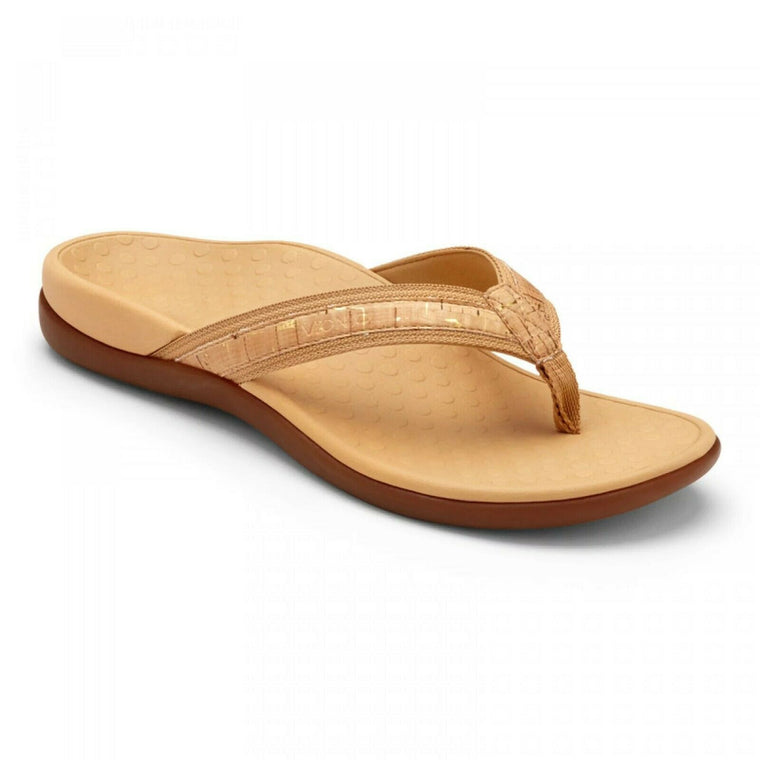 Vionic Women's Tide II Toe Post Sandal - Gold Cork