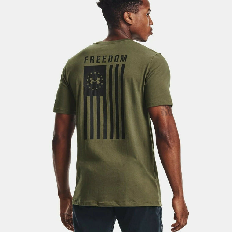Under Armour Men's UA Freedom Flag Graphic T-Shirt - Marine OD Green/Black