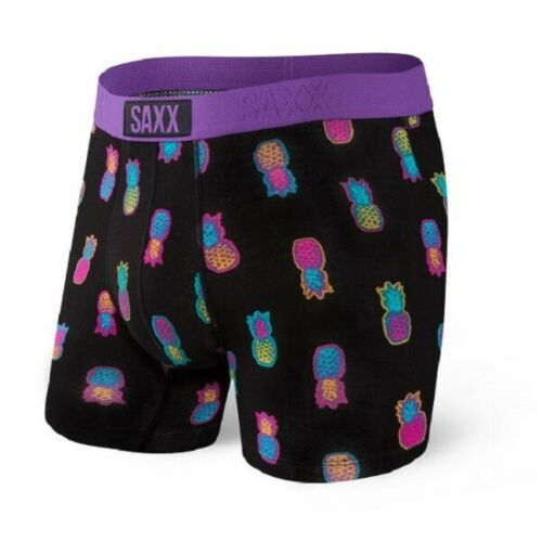 SAXX Men's Vibe Boxer Brief Underwear - Black Solar Pineapples