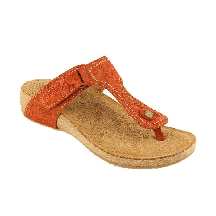 Women's Taos Lucy Sandal - Rust Embossed Suede