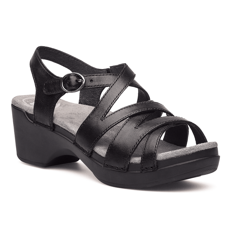 Dansko Women's Stevie Wedge Sandal - Black Full Grain