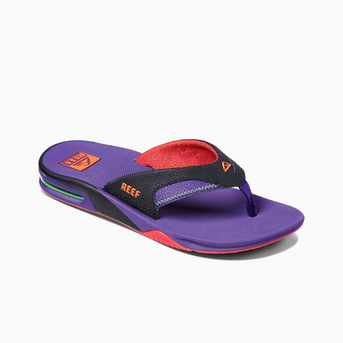 Men's Reef Fanning Flip Flops - Black/Purple