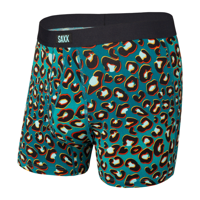 SAXX Men's Daytripper Boxer Brief Underwear - Teal Vaporwave Cheetah