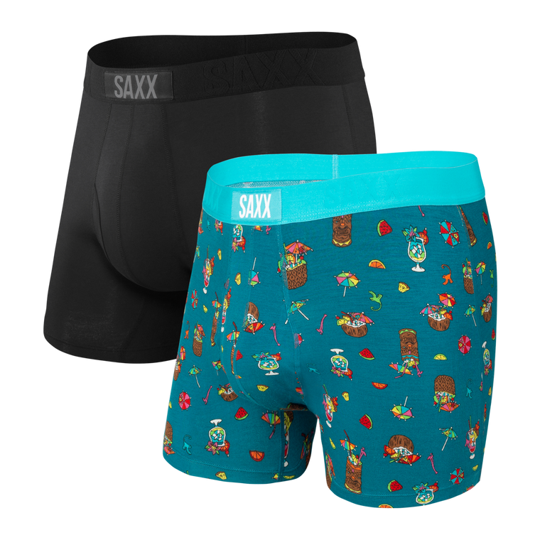 SAXX Men's Ultra Boxer Brief Underwear 2-Pack - Coconut Drinks/Black