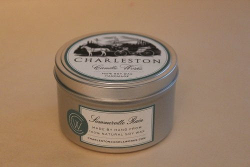 Small tin candle made with natural soy wax and blended with jasmine.