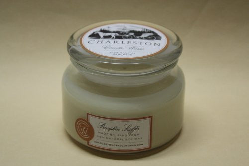 Soy candle that smells like Pumpkin Souffle.
