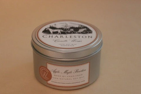 apple maple bourbon tin with natural soy wax.