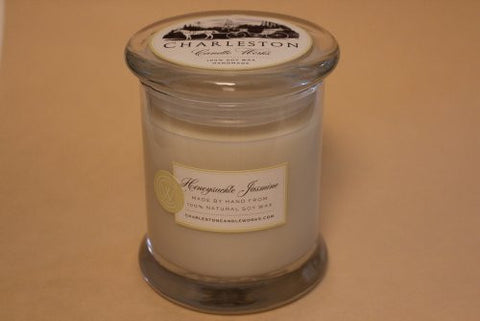 honeysuckle jasmine candle, handmade with soy wax.