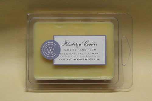 Soy wax melt that has the scent of blueberries.