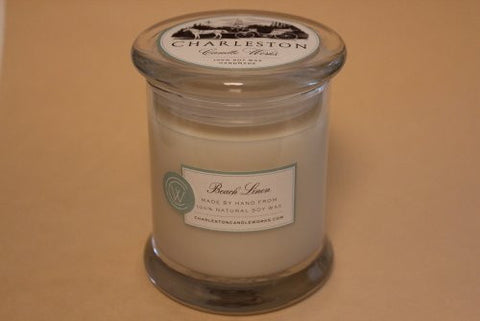 12oz beach linen soy candle.