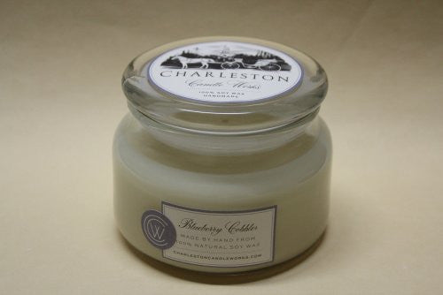 8oz blueberry cobbler soy candle that smells just like blueberries.