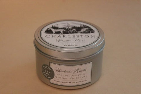 Christmas hearth candle tin made with soy wax.