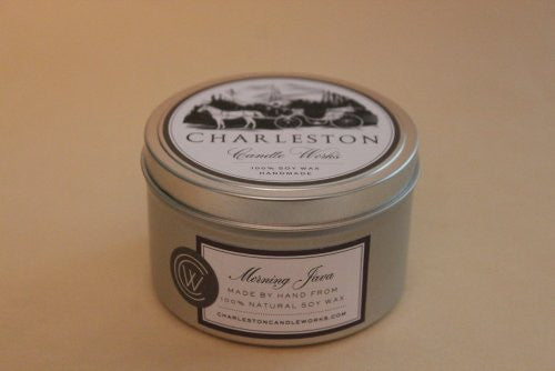candle tin, scent of dark roasted coffee.