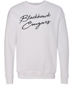 BLACKHAWK COUGARS WHITE CREWNECK SWEATSHIRT