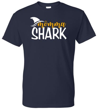 HAAC MOMMA SHARK NAVY SHORT SLEEVE GILDAN TSHIRT