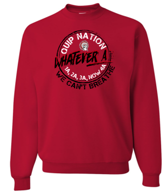 WHATEVER A RED CREWNECK SWEATSHIRT