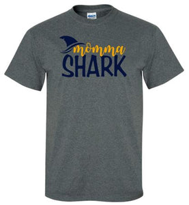 """GLITTER"" HAAC MOMMA SHARK GRAY SHORT SLEEVE GILDAN TSHIRT"