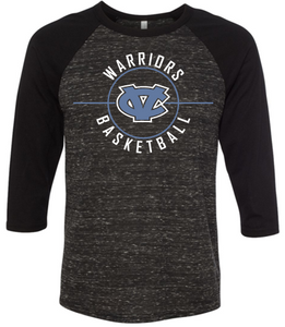 CV BASKETBALL BLACK RAGLAN TSHIRT