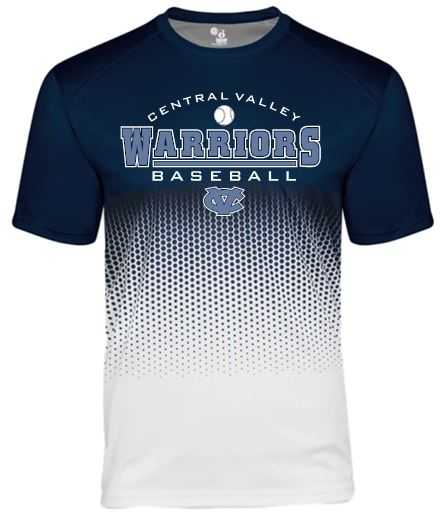 CV BASEBALL BADGER HEX 2.0 NAVY MOISTURE WICKING TSHIRT