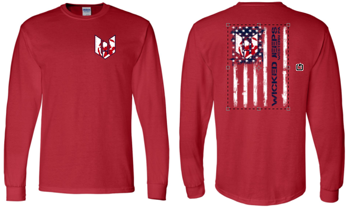 WICKED JEEP FLAG LONG SLEEVE TSHIRT