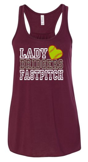 """GLITTER"" LADY BRIDGER FASTPITCH GRAY FLOWY TANK TOP"