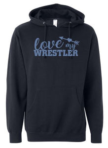 """GLITTER"" WARRIOR LOVE MY WRESTLER COTTON HOODIE NAVY"